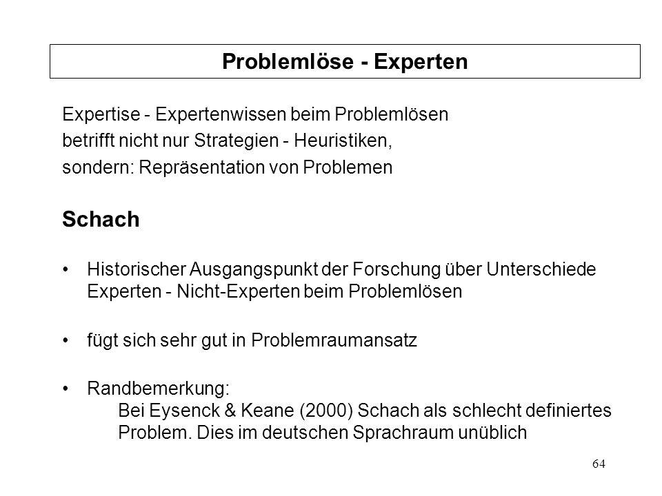 64 Expertise - Expertenwissen beim Problemlösen betrifft nicht nur Strategien - Heuristiken, sondern: Repräsentation von Problemen Schach Historischer