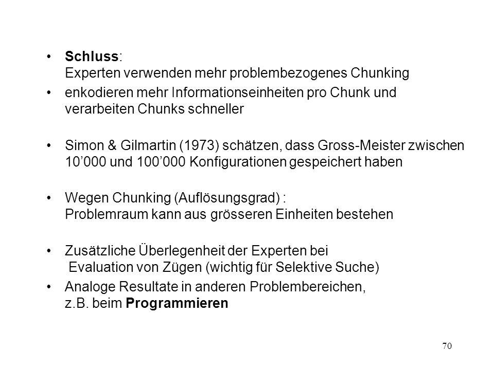70 Schluss: Experten verwenden mehr problembezogenes Chunking enkodieren mehr Informationseinheiten pro Chunk und verarbeiten Chunks schneller Simon &