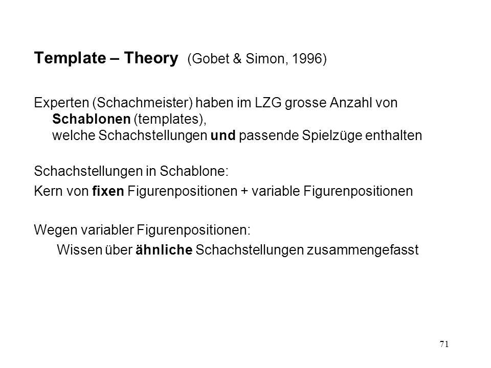 71 Template – Theory (Gobet & Simon, 1996) Experten (Schachmeister) haben im LZG grosse Anzahl von Schablonen (templates), welche Schachstellungen und