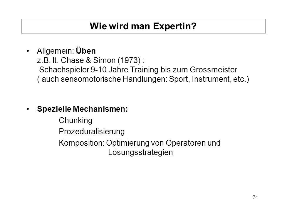 74 Allgemein: Üben z.B. lt. Chase & Simon (1973) : Schachspieler 9-10 Jahre Training bis zum Grossmeister ( auch sensomotorische Handlungen: Sport, In