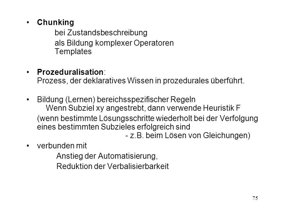 75 Chunking bei Zustandsbeschreibung als Bildung komplexer Operatoren Templates Prozeduralisation: Prozess, der deklaratives Wissen in prozedurales üb