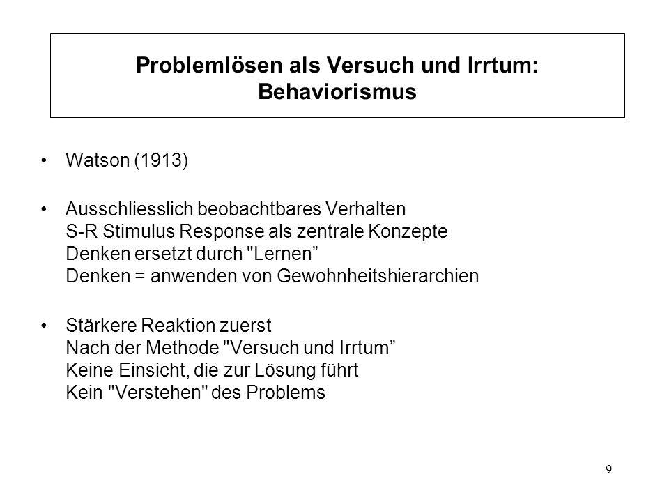 30 Problemlösen als Finden eines Weges durch den Problemraum Kognitive Psychologie Newell & Simon, 1972; Klix, 1971 Objektive Struktur eines Problems beschreibbar als Menge von Zuständen Menge von Operatoren Problemraum