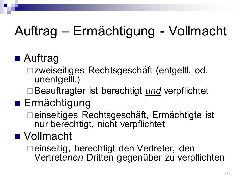 Auftrag – Ermächtigung - Vollmacht Auftrag zweiseitiges Rechtsgeschäft (entgeltl.