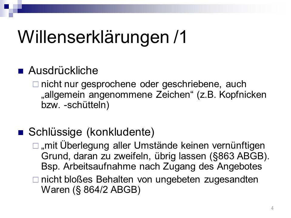 Willenserklärungen /1 Ausdrückliche nicht nur gesprochene oder geschriebene, auch allgemein angenommene Zeichen (z.B.