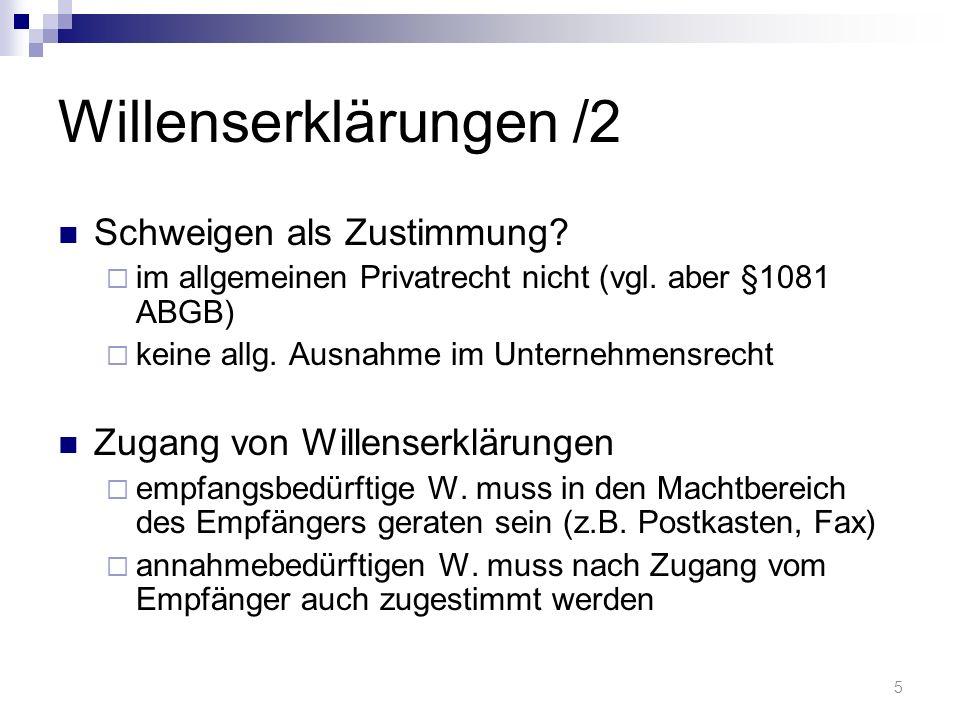 Willenserklärungen /2 Schweigen als Zustimmung.im allgemeinen Privatrecht nicht (vgl.