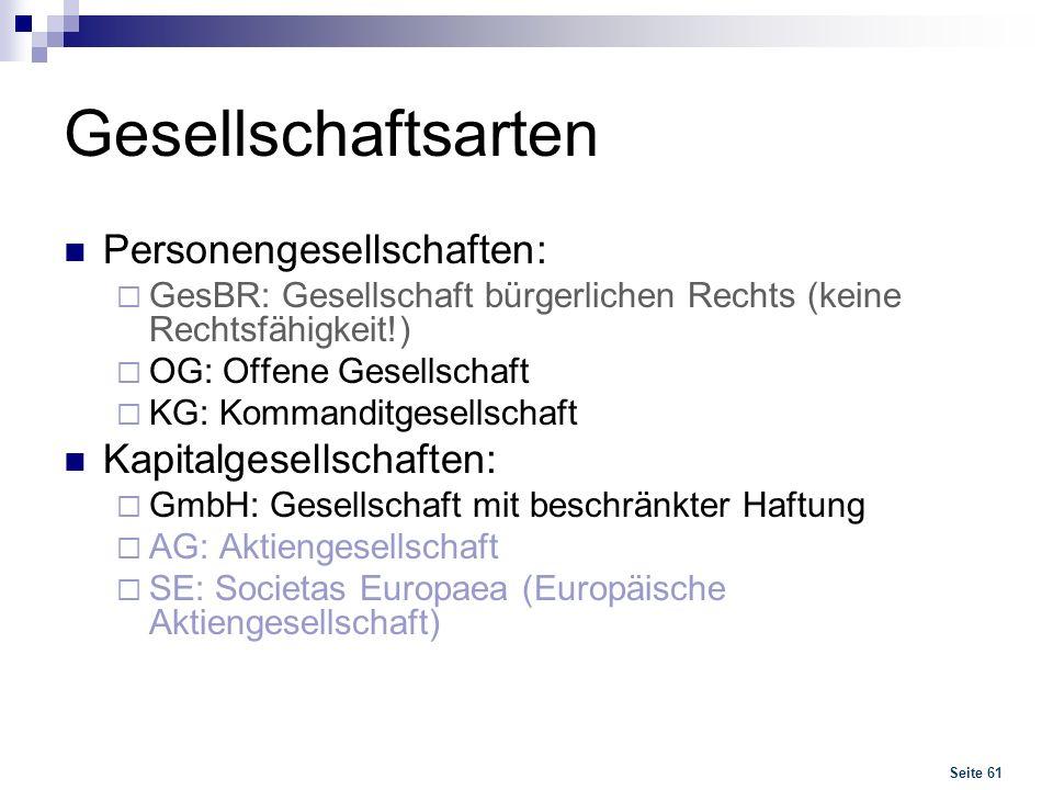 Seite 61 Gesellschaftsarten Personengesellschaften: GesBR: Gesellschaft bürgerlichen Rechts (keine Rechtsfähigkeit!) OG: Offene Gesellschaft KG: Komma