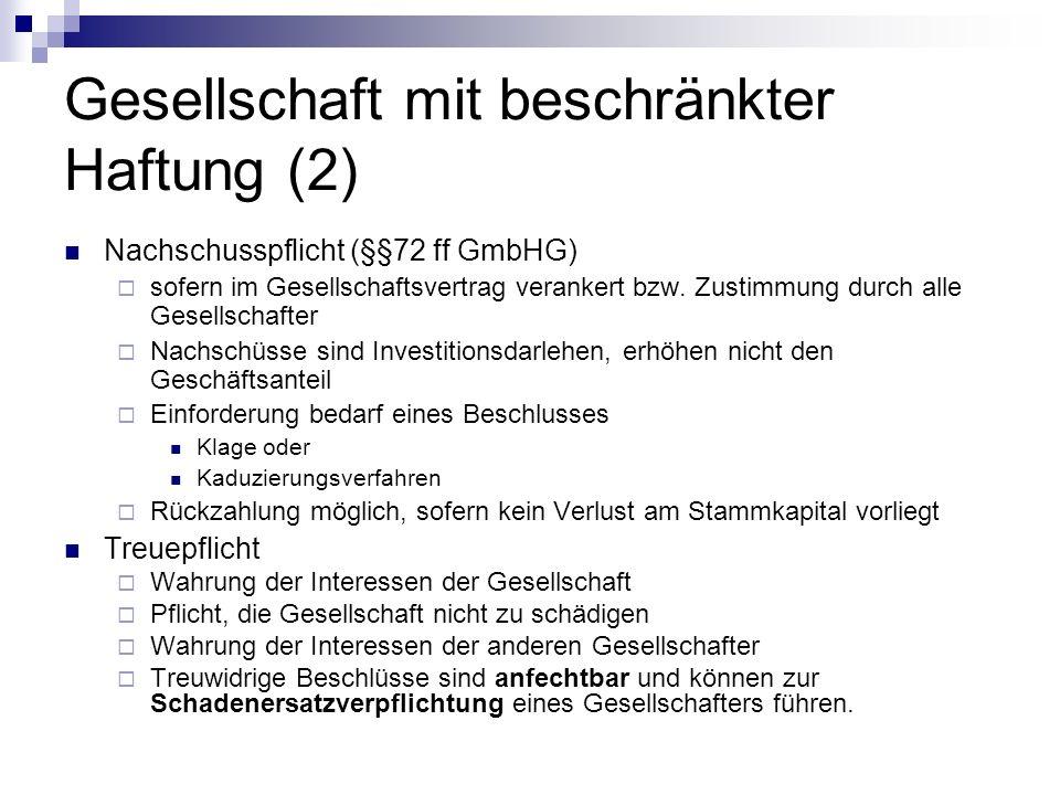 Gesellschaft mit beschränkter Haftung (2) Nachschusspflicht (§§72 ff GmbHG) sofern im Gesellschaftsvertrag verankert bzw.