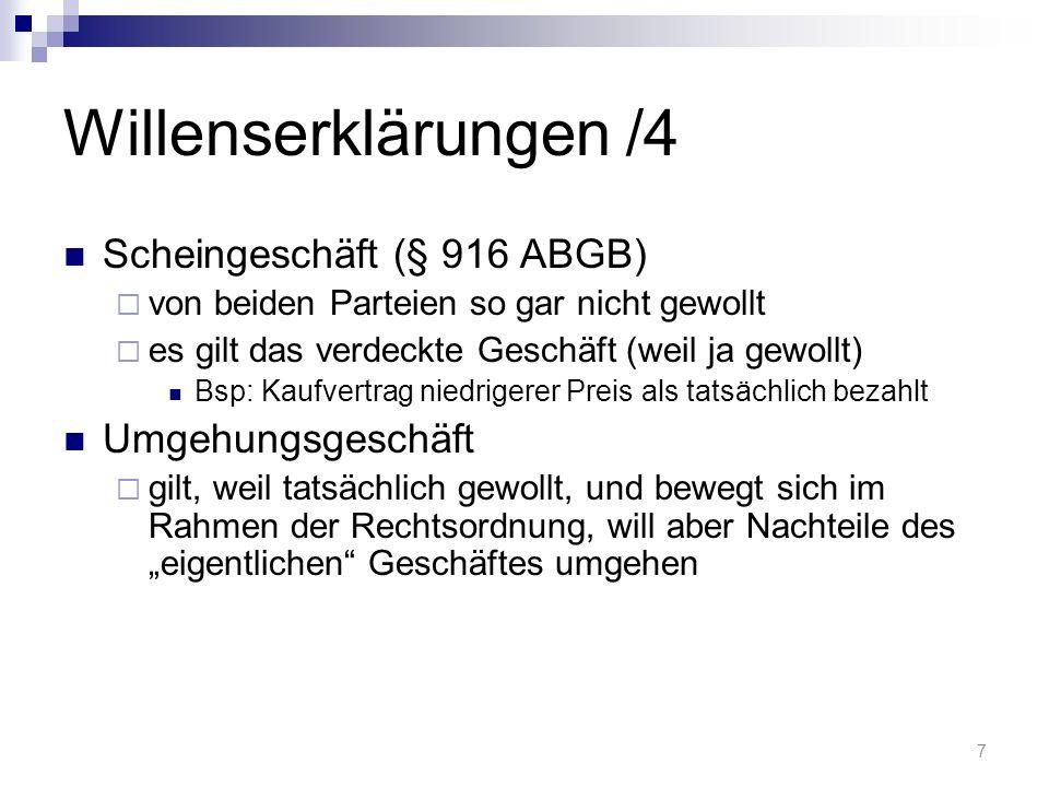 Willenserklärungen /4 Scheingeschäft (§ 916 ABGB) von beiden Parteien so gar nicht gewollt es gilt das verdeckte Geschäft (weil ja gewollt) Bsp: Kaufv