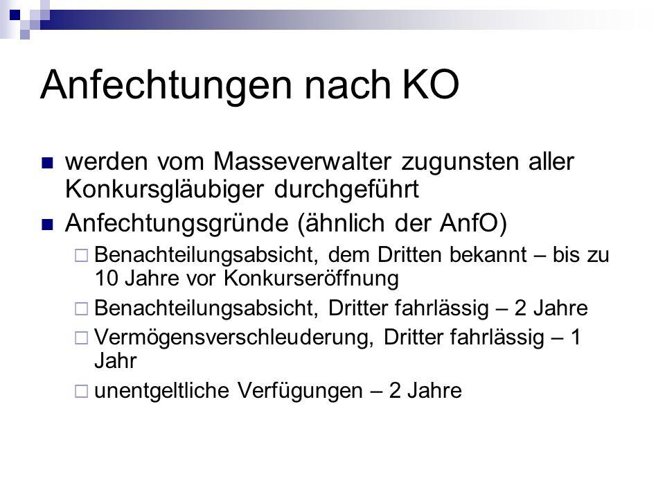 Anfechtungen nach KO werden vom Masseverwalter zugunsten aller Konkursgläubiger durchgeführt Anfechtungsgründe (ähnlich der AnfO) Benachteilungsabsich