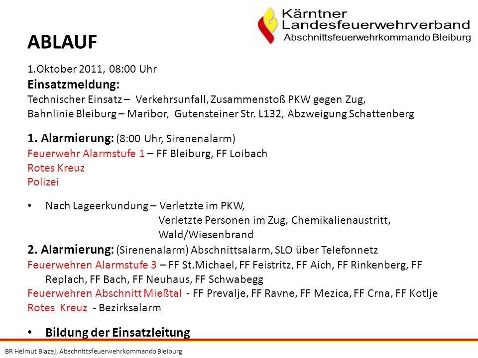 BR Helmut Blazej, Abschnittsfeuerwehrkommando Bleiburg 1.Oktober 2011, 08:00 Uhr Einsatzmeldung: Technischer Einsatz – Verkehrsunfall, Zusammenstoß PK