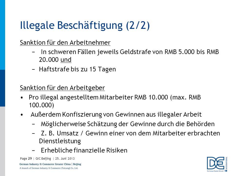 Page29 | GIC Beijing | 25. Juni 2013 Illegale Beschäftigung (2/2) Sanktion für den Arbeitnehmer In schweren Fällen jeweils Geldstrafe von RMB 5.000 bi