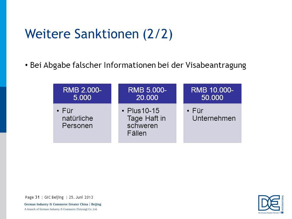 Page31 | GIC Beijing | 25. Juni 2013 Weitere Sanktionen (2/2) Bei Abgabe falscher Informationen bei der Visabeantragung RMB 2.000- 5.000 Für natürlich