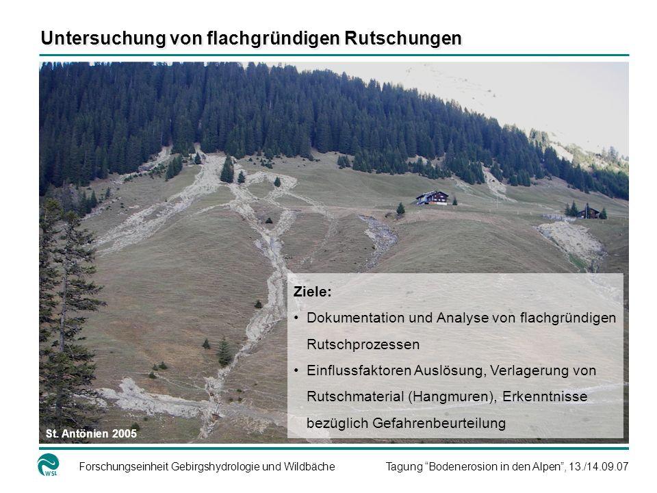 Forschungseinheit Gebirgshydrologie und WildbächeTagung Bodenerosion in den Alpen, 13./14.09.07 Ziele: Dokumentation und Analyse von flachgründigen Ru