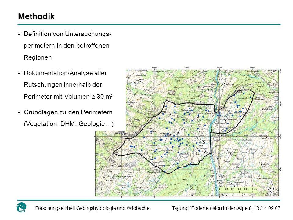 Forschungseinheit Gebirgshydrologie und WildbächeTagung Bodenerosion in den Alpen, 13./14.09.07 Methodik -Definition von Untersuchungs- perimetern in