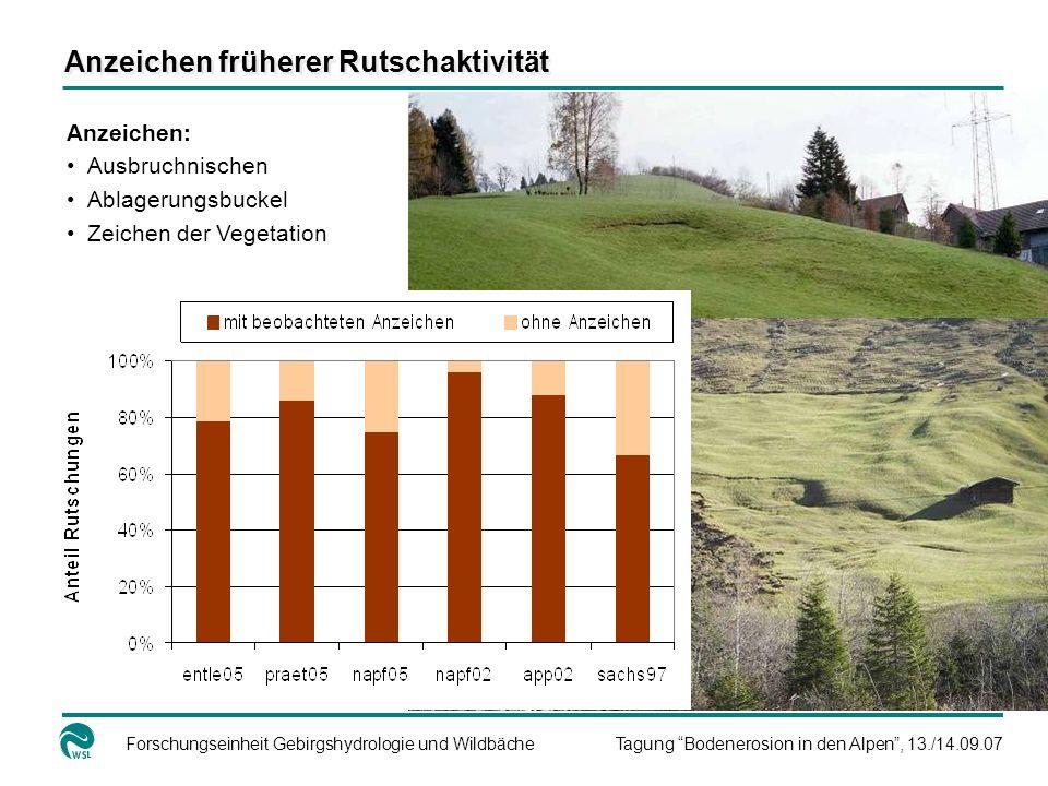 Forschungseinheit Gebirgshydrologie und WildbächeTagung Bodenerosion in den Alpen, 13./14.09.07 Anzeichen: Ausbruchnischen Ablagerungsbuckel Zeichen d