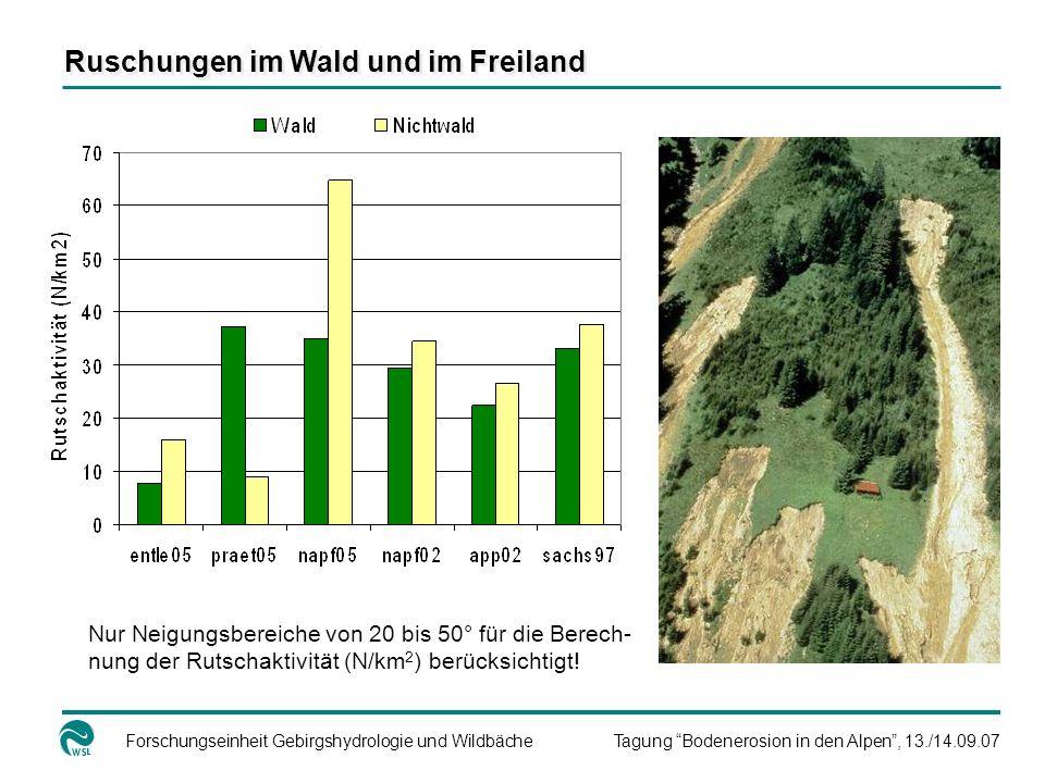 Forschungseinheit Gebirgshydrologie und WildbächeTagung Bodenerosion in den Alpen, 13./14.09.07 Ruschungen im Wald und im Freiland Nur Neigungsbereich