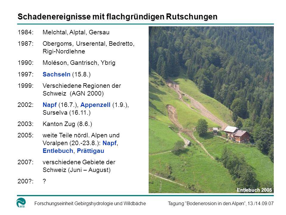 Forschungseinheit Gebirgshydrologie und WildbächeTagung Bodenerosion in den Alpen, 13./14.09.07 Schadenereignisse mit flachgründigen Rutschungen 1984: