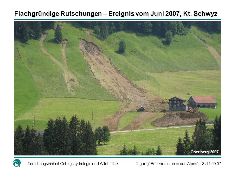 Forschungseinheit Gebirgshydrologie und WildbächeTagung Bodenerosion in den Alpen, 13./14.09.07 Flachgründige Rutschungen – Ereignis vom Juni 2007, Kt