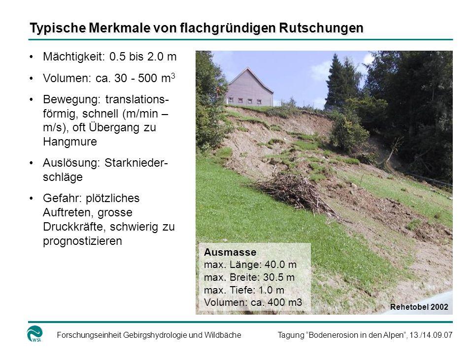 Forschungseinheit Gebirgshydrologie und WildbächeTagung Bodenerosion in den Alpen, 13./14.09.07 Mächtigkeit: 0.5 bis 2.0 m Volumen: ca.