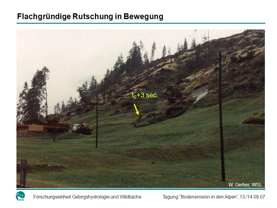Forschungseinheit Gebirgshydrologie und WildbächeTagung Bodenerosion in den Alpen, 13./14.09.07 Flachgründige Rutschung in Bewegung t 0 +3 sec. W. Ger