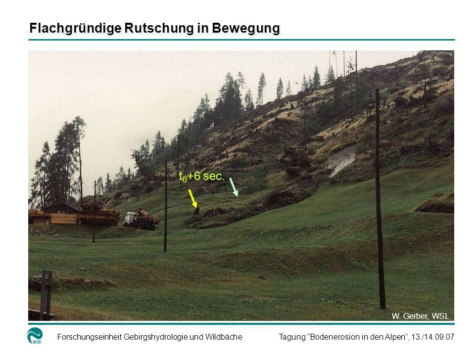 Forschungseinheit Gebirgshydrologie und WildbächeTagung Bodenerosion in den Alpen, 13./14.09.07 t 0 +6 sec. W. Gerber, WSL Flachgründige Rutschung in