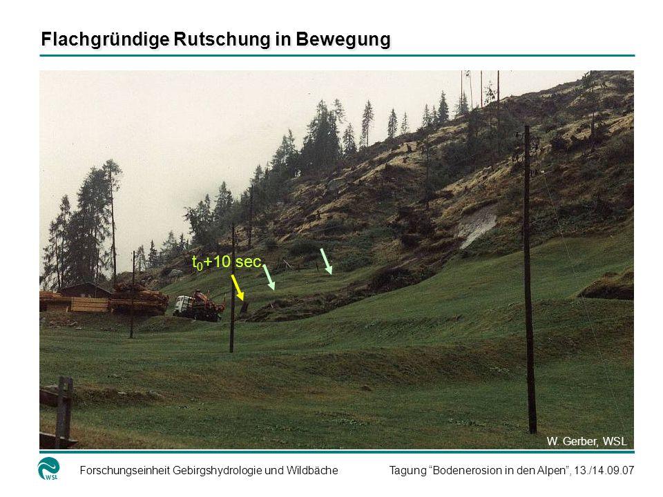 Forschungseinheit Gebirgshydrologie und WildbächeTagung Bodenerosion in den Alpen, 13./14.09.07 t 0 +10 sec. W. Gerber, WSL Flachgründige Rutschung in