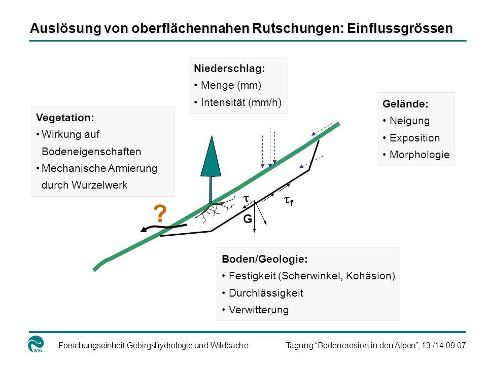 Forschungseinheit Gebirgshydrologie und WildbächeTagung Bodenerosion in den Alpen, 13./14.09.07 Vegetation: Wirkung auf Bodeneigenschaften Mechanische