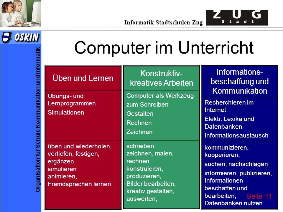 Informatik Stadtschulen Zug Organisation für Schule Kommunikation und Informatik Computer im Unterricht Konstruktiv- kreatives Arbeiten Computer als W