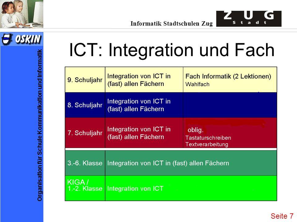 Informatik Stadtschulen Zug Organisation für Schule Kommunikation und Informatik ICT: Integration und Fach KIGA / Seite 7