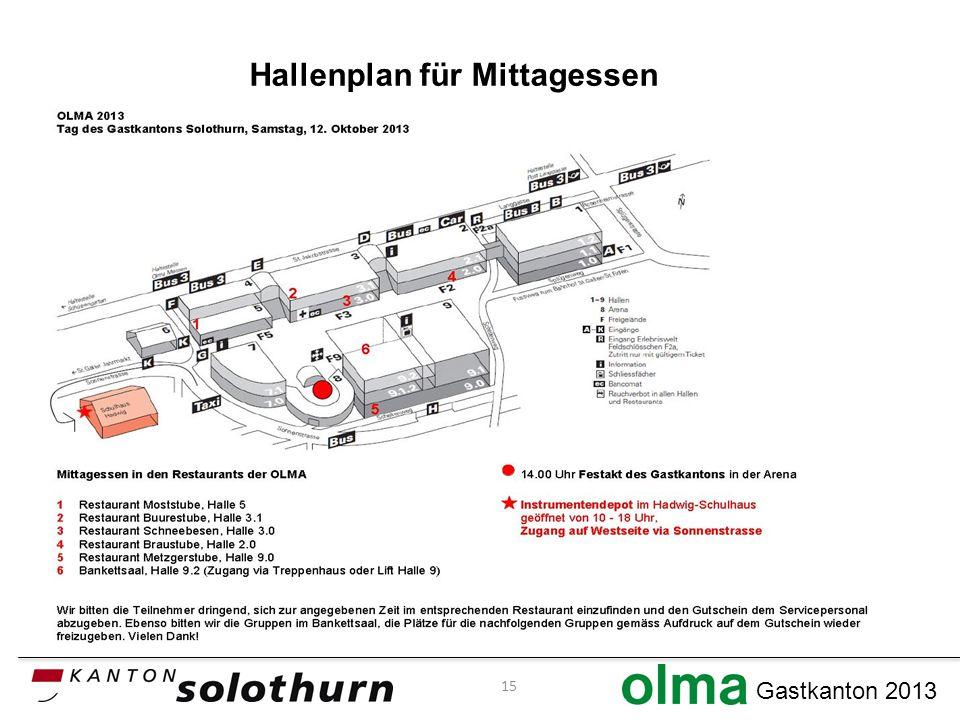 Gastkanton 2013 Hallenplan für Mittagessen 15