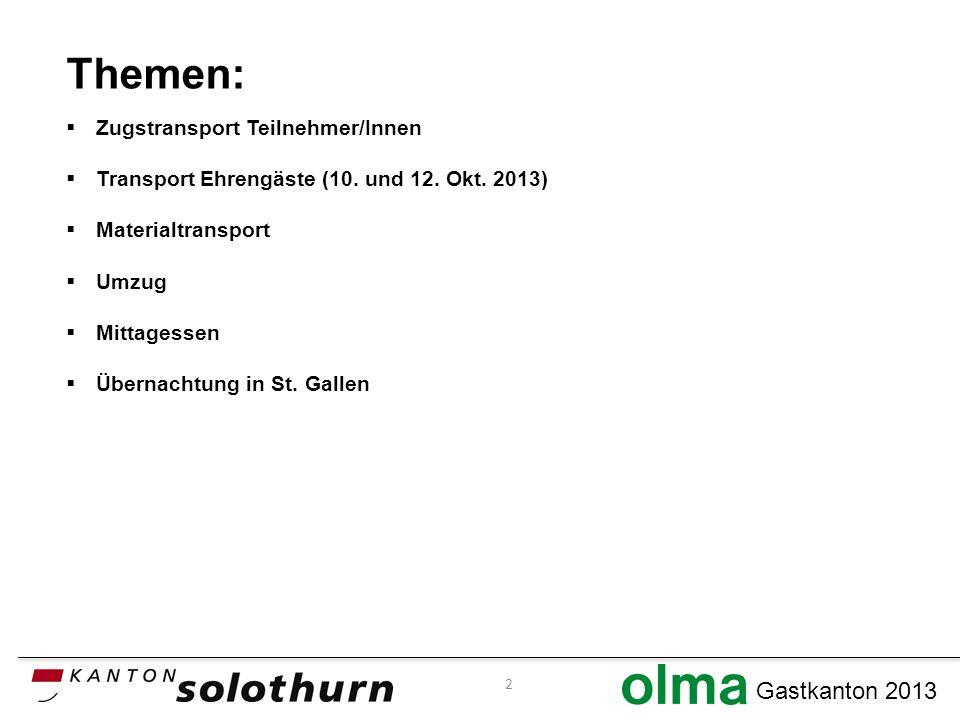 Gastkanton 2013 Themen: Zugstransport Teilnehmer/Innen Transport Ehrengäste (10.