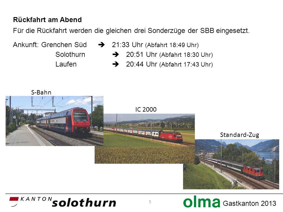 Gastkanton 2013 Rückfahrt am Abend Für die Rückfahrt werden die gleichen drei Sonderzüge der SBB eingesetzt.
