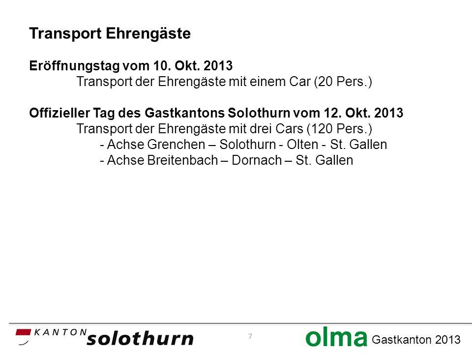 Gastkanton 2013 Transport Ehrengäste Eröffnungstag vom 10.