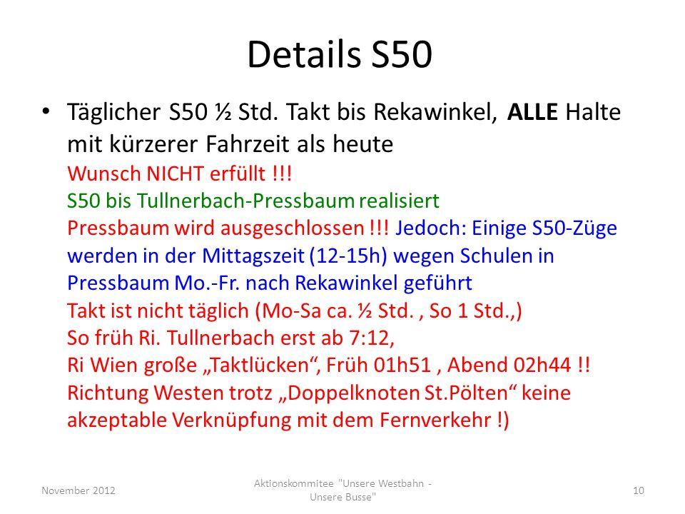 Details S50 Täglicher S50 ½ Std. Takt bis Rekawinkel, ALLE Halte mit kürzerer Fahrzeit als heute Wunsch NICHT erfüllt !!! S50 bis Tullnerbach-Pressbau