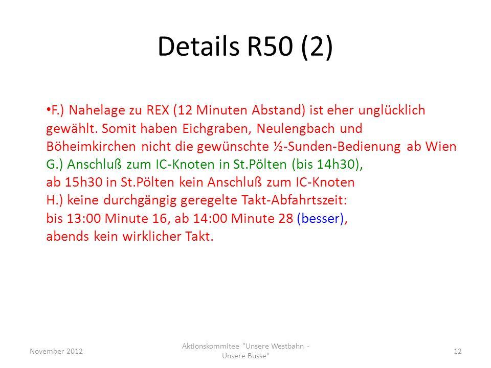 Details R50 (2) F.) Nahelage zu REX (12 Minuten Abstand) ist eher unglücklich gewählt. Somit haben Eichgraben, Neulengbach und Böheimkirchen nicht die