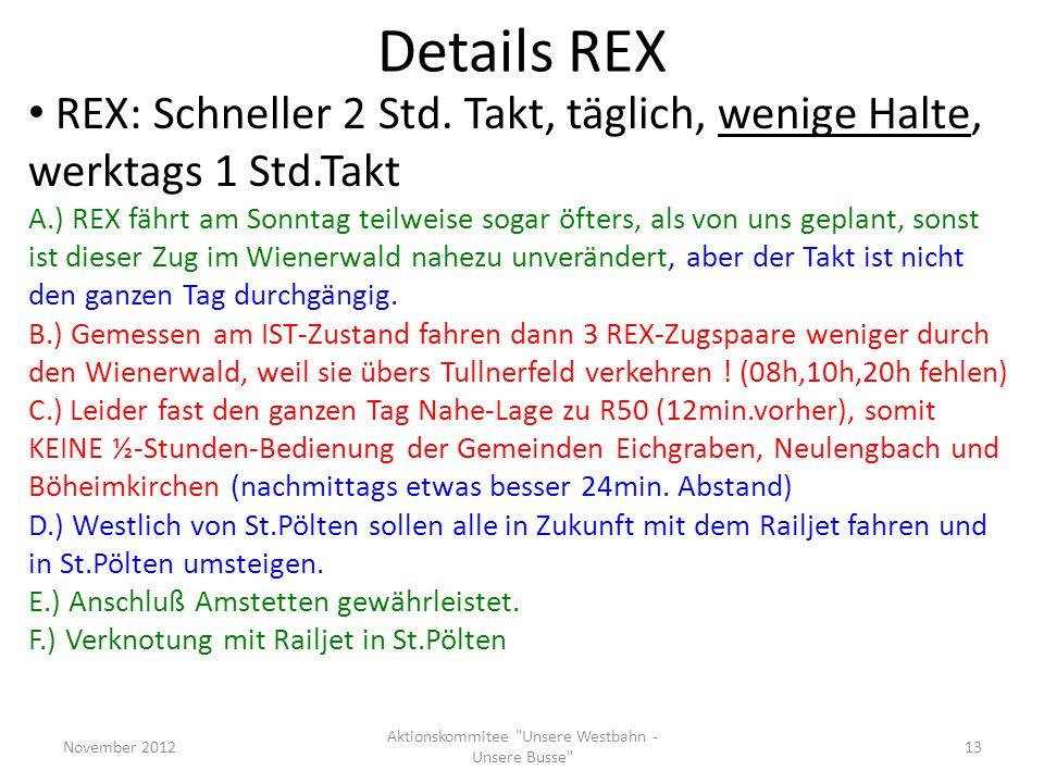 REX: Schneller 2 Std. Takt, täglich, wenige Halte, werktags 1 Std.Takt A.) REX fährt am Sonntag teilweise sogar öfters, als von uns geplant, sonst ist