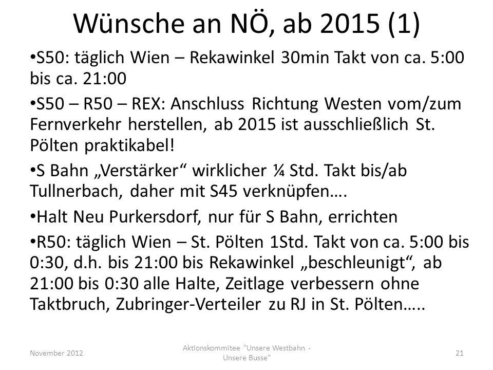 Wünsche an NÖ, ab 2015 (1) S50: täglich Wien – Rekawinkel 30min Takt von ca. 5:00 bis ca. 21:00 S50 – R50 – REX: Anschluss Richtung Westen vom/zum Fer