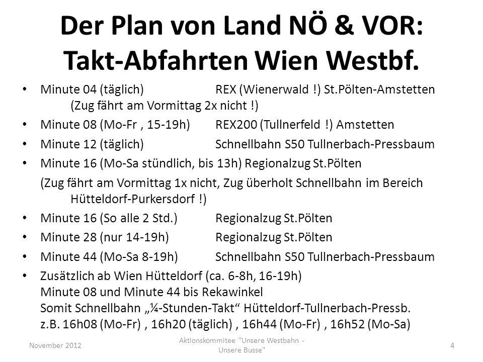 Der Plan von Land NÖ & VOR: Takt-Abfahrten Wien Westbf. Minute 04 (täglich)REX (Wienerwald !) St.Pölten-Amstetten (Zug fährt am Vormittag 2x nicht !)