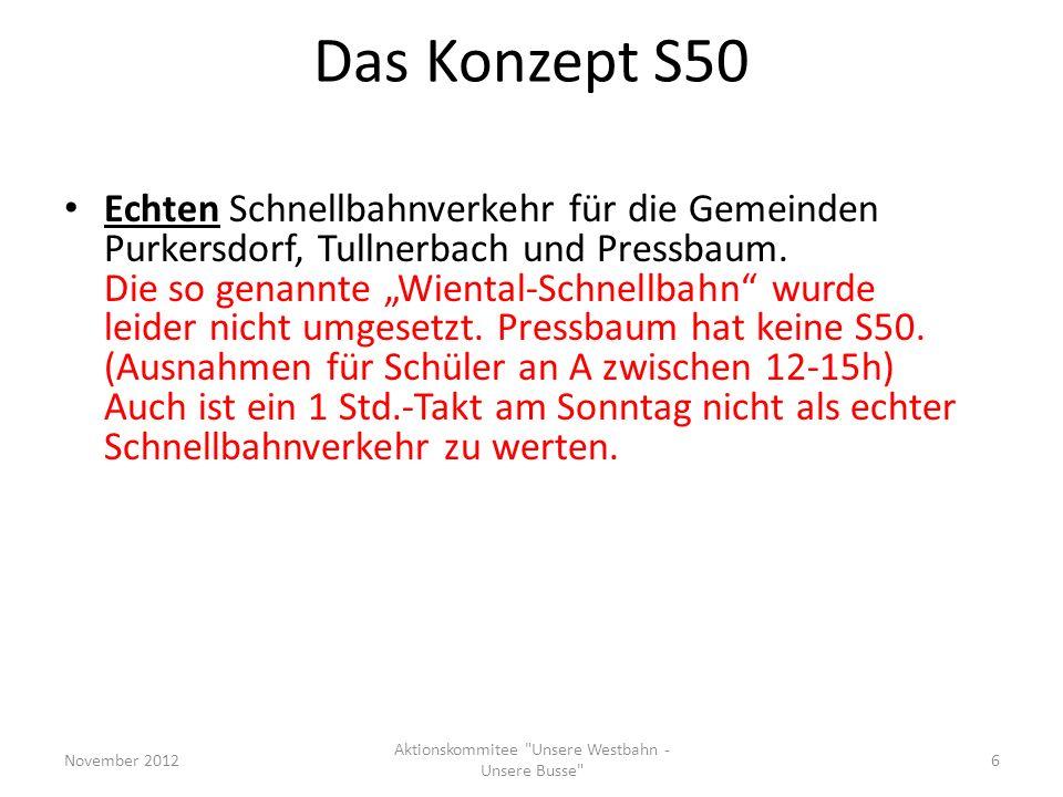 Das Konzept S50 Echten Schnellbahnverkehr für die Gemeinden Purkersdorf, Tullnerbach und Pressbaum. Die so genannte Wiental-Schnellbahn wurde leider n