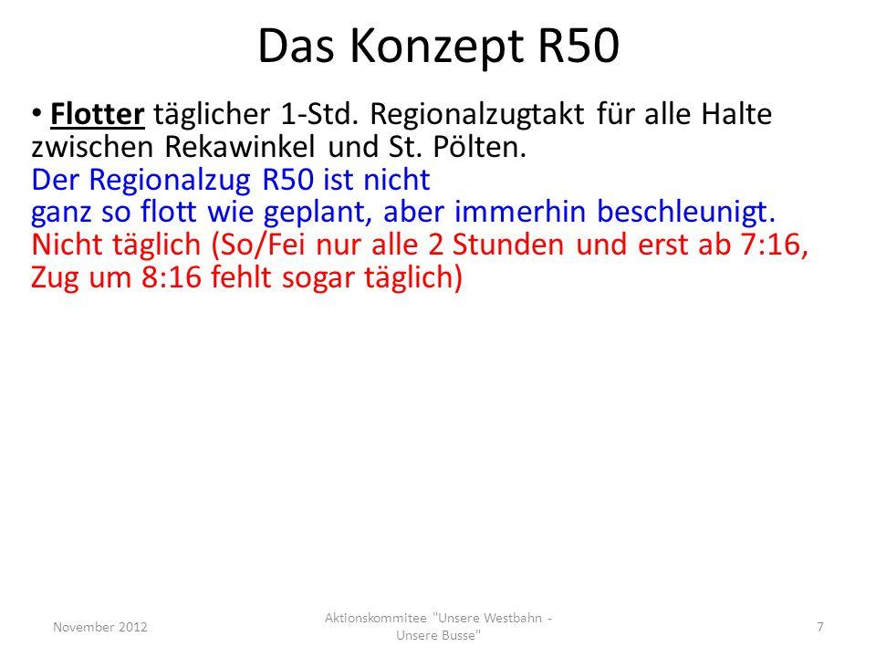 Das Konzept R50 Flotter täglicher 1-Std. Regionalzugtakt für alle Halte zwischen Rekawinkel und St. Pölten. Der Regionalzug R50 ist nicht ganz so flot