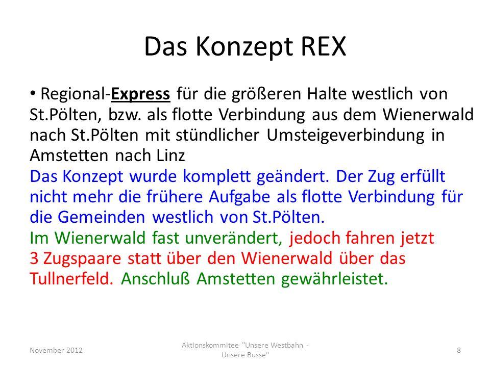 Wünsche an NÖ, kurzfristig(2) November 2012 Aktionskommitee Unsere Westbahn - Unsere Busse 19 Sonntags-Frühverkehr-Korrektur: Schließung der Lücken St.Pölten-Rekawinkel 02h31 Rekawinkel-Wien 01h51 - S20109 täglich (statt B), aber erst ab Rekawinkel - REX 1607 an A (statt B), stattdessen R2009 täglich - Zugspaar S20108/S20113 täglich (statt X) - Zugspaar S26022/S20395 entfällt (Hf-Pm-Hf)