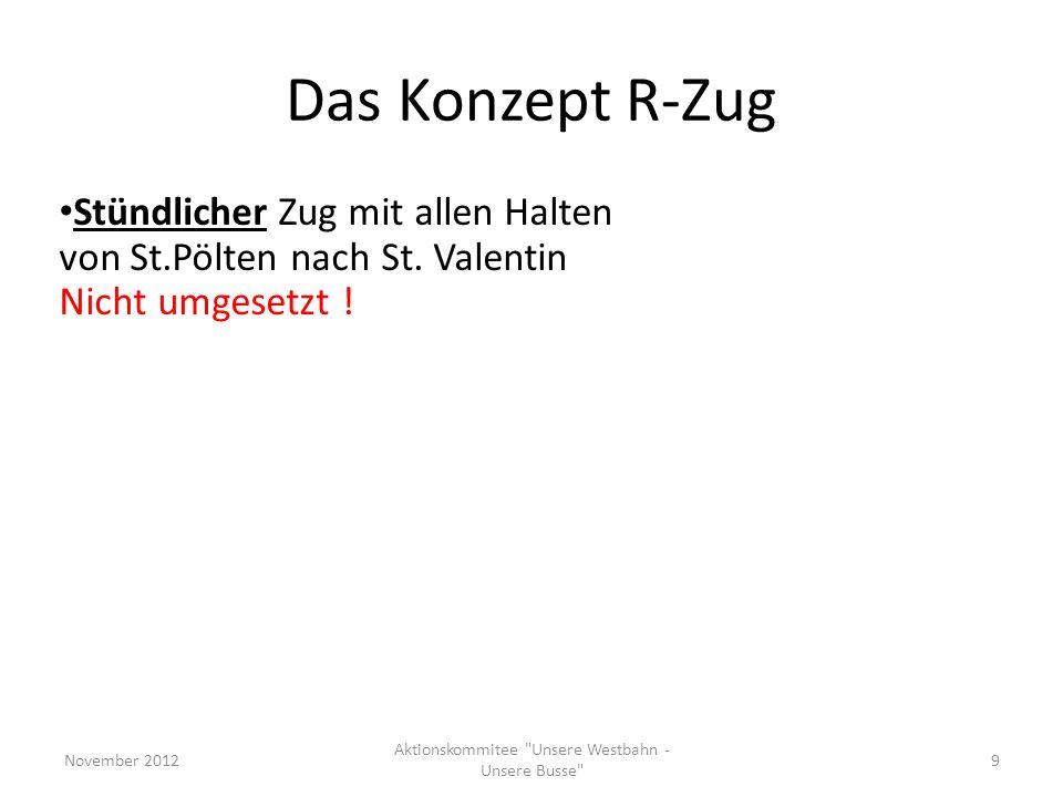 Das Konzept R-Zug Stündlicher Zug mit allen Halten von St.Pölten nach St. Valentin Nicht umgesetzt ! November 2012 Aktionskommitee