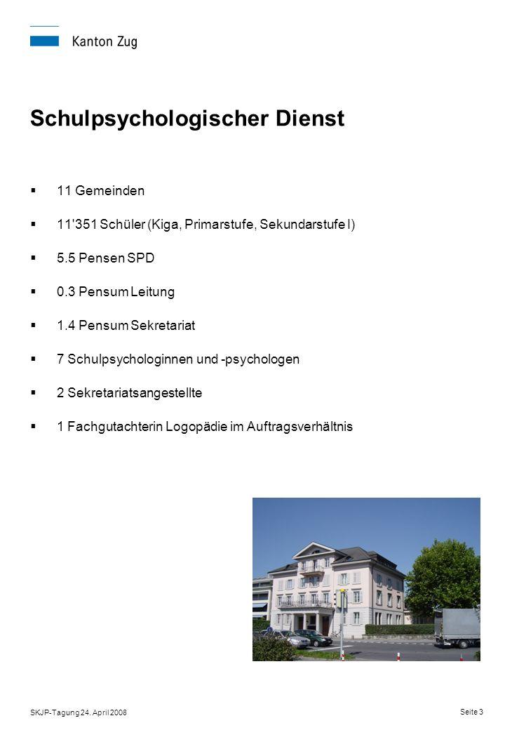 SKJP-Tagung 24. April 2008 Seite 3 Schulpsychologischer Dienst 11 Gemeinden 11'351 Schüler (Kiga, Primarstufe, Sekundarstufe I) 5.5 Pensen SPD 0.3 Pen