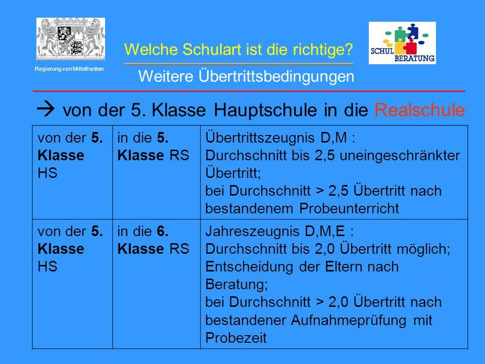 Welche Schulart ist die richtige? Regierung von Mittelfranken von der 5. Klasse Hauptschule in die Realschule von der 5. Klasse HS in die 5. Klasse RS