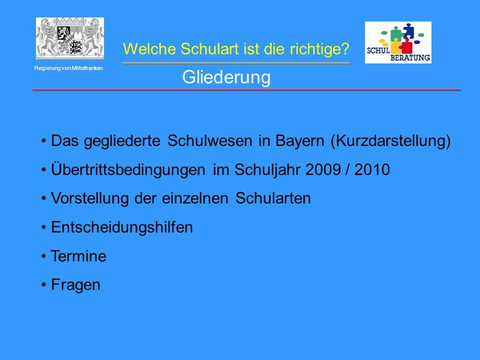 Welche Schulart ist die richtige? Regierung von Mittelfranken Das gegliederte Schulwesen in Bayern (Kurzdarstellung) Übertrittsbedingungen im Schuljah