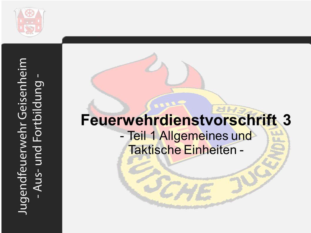Feuerwehrdienstvorschrift 3 Taktische Einheiten Fahrzeuge mit Truppbesatzung in Geisenheim.
