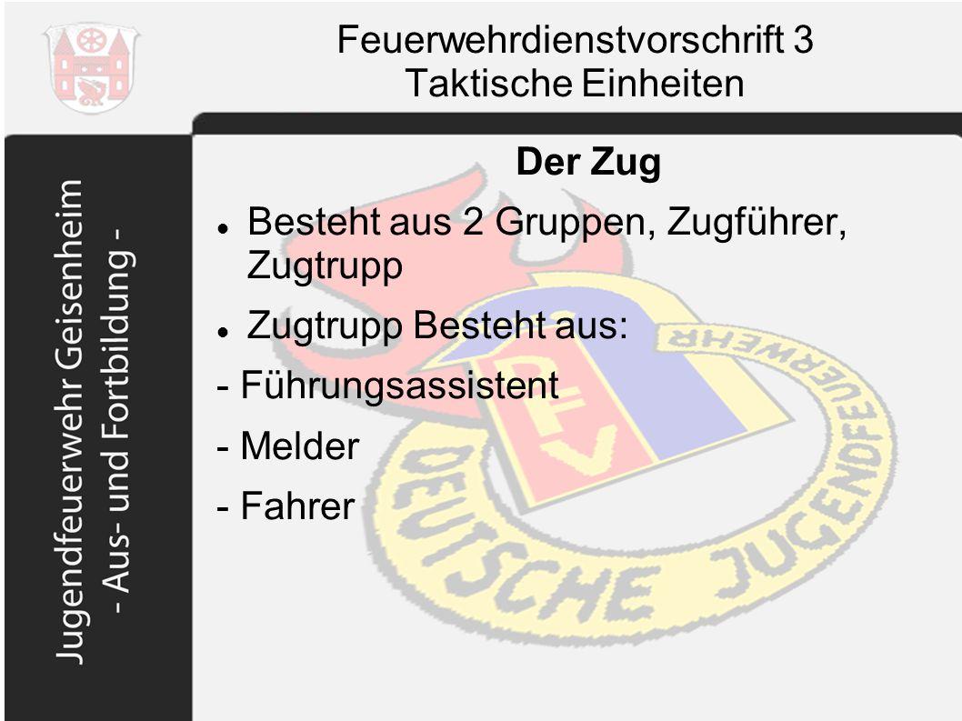 Feuerwehrdienstvorschrift 3 Taktische Einheiten Der Zug Besteht aus 2 Gruppen, Zugführer, Zugtrupp Zugtrupp Besteht aus: - Führungsassistent - Melder