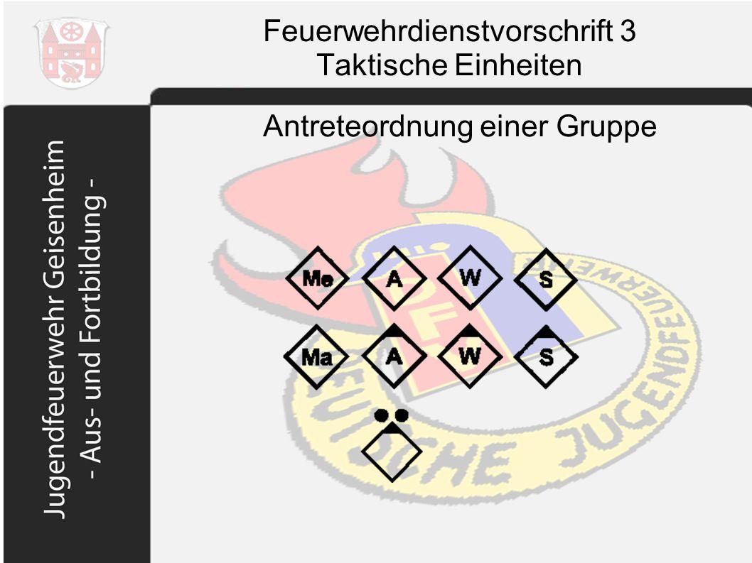Feuerwehrdienstvorschrift 3 Taktische Einheiten Antreteordnung einer Gruppe
