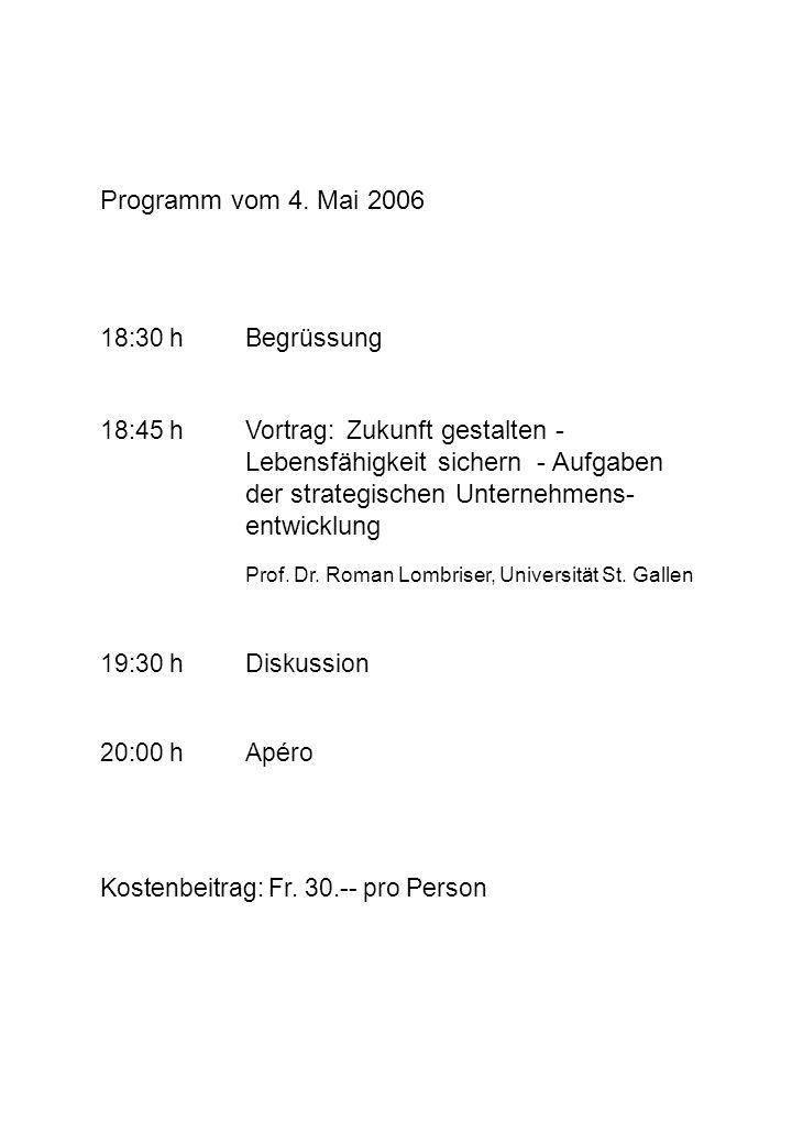Programm vom 4. Mai 2006 18:30 hBegrüssung 18:45 hVortrag: Z ukunft gestalten - Lebensfähigkeit sichern - Aufgaben der strategischen Unternehmens- ent