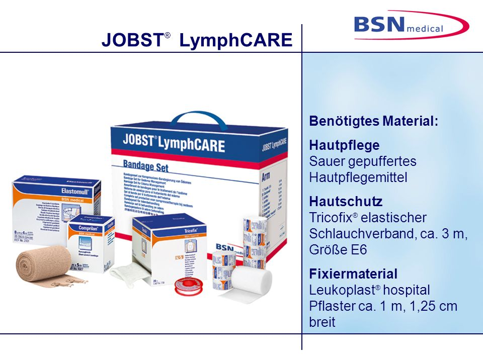 JOBST ® LymphCARE 9. Der Unterarm wird mit halb überlappenden Zirkulärtouren umwickelt.